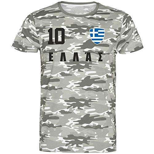 Nation Griechenland T-Shirt Camouflage Trikot Style Nummer 10 Army (L)