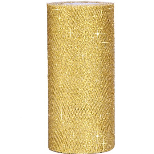 Outus 6 Inch Sparkling Tulle Ribbon Roll Glitter Tulle Roll Tulle Spool, 25 Yards, Gold