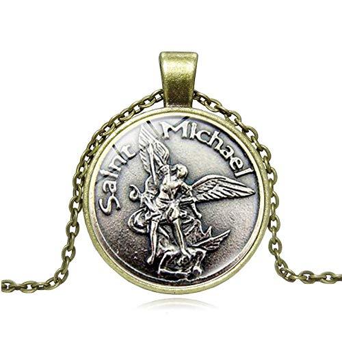 Collar con colgante de protección con espada divina Senhield para hombre con Arcángel San Miguel Divino Escudo de Protección Collar Yaoping Aleación Vikingo-U
