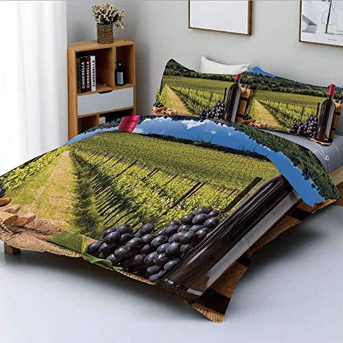 Juego de funda nórdica, botellas de vino tinto con uvas sobre tabla de madera y paisaje de terraza italiana Toscana Juego de cama decorativo de 3 piezas con 2 fundas de almohada, verde azul marrón, el