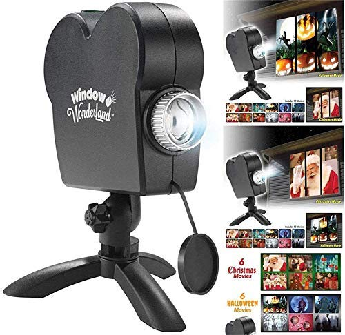 Muhuko Halloween Holographic Projection, Christmas Halloween Window Projector 12 Movie Programs Projection Lights, Turn Your Windows Into A Festive Movie Screen, Outdoor Garden Decoration (1 pcs)