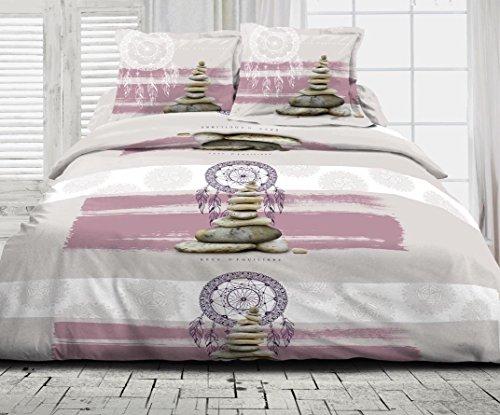 Douceur de Nuits 1402 HC3 Parure de Couette Zen Reve Equilibre Coton Multicolore 220 x 240 cm