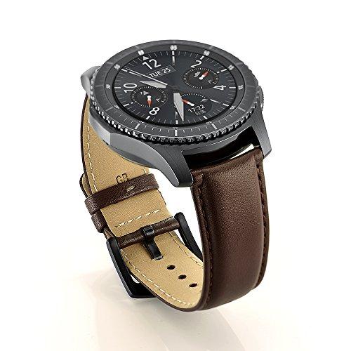 SUNDAREE Kompatibel mit Gear S3 Frontier/Classic/Galaxy Watch 46MM Armband,22MM Lederarmband Ersatzarmbänder Armband Band Uhrenarmband für Samsung Galaxy Watch 46/Gear S3 Frontier/Classic(S3 Brown)