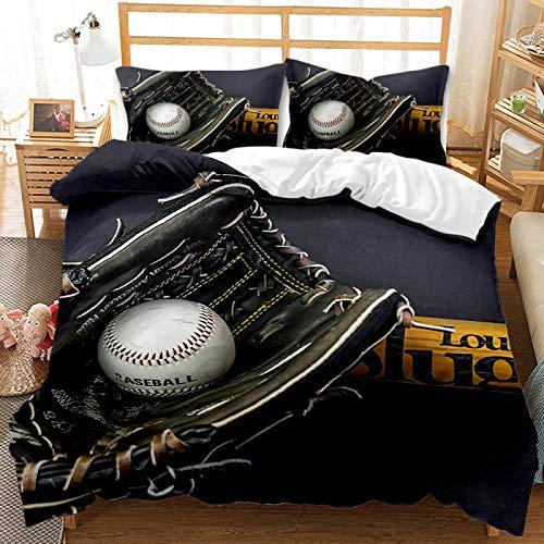 QXbecky Set biancheria da letto Copripiumino in ovatta da baseball 2 federa, set 3 pezzi, morbida microfibra levigata, traspirante e confortevole per dormire 175 cm