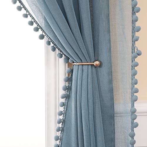 MIULEE 2er Set Voile Vorhang Transparente mit Pompons Gardine aus Voile Polyester Stangedurchzug Transparent Wohnzimmer Luftig Dekoschal für Schlafzimmer 225 x 140cm (H x B), Rod Pocket Blau