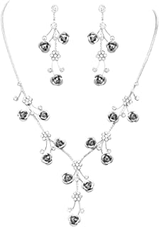 Rosemarie Collections Women's Elegant Crystal Rhinestone and Metal Relief Rose Statement Necklace Earrings Jewelry Set, 1...