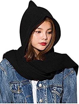 Women Girl Winter Knitted Hooded Long Scarf Warm Shawl Head Scarves Black One Size