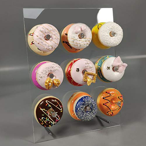 LUGUNU Reusable Acrylic Donut Stand, Crystal Clear Handmade Donut Wall On Table Donuts Rack Display for Donut Party Decorations, Baby Showers, a Birthday Party and More (9 Pillars)