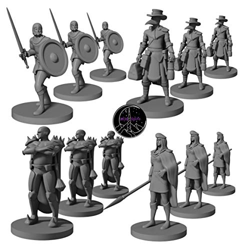 12 Miniatures Town Guards - Plague Doctors | Unpainted 28mm DND Miniatures Dungeon and Dragons Miniature Figures | D&D Miniatures Dungeon and Dragon 5th Edition Figurines | DND Minis 5e