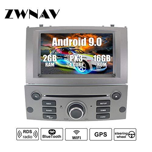 ZWNAV Android 8.1 Reproductor de DVD de navegación estéreo GPD para Peugeot 407 2004-2010 con Europa 49 Tarjeta de Mapeo de País SD