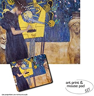 1art1 Gustav Klimt, The Music, 1895 1 Poster Art Print (20x16 inches) + 1 Mouse Pad (9x7 inches) Gift Set