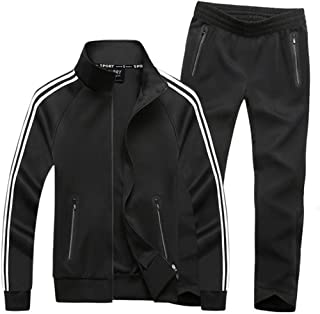 GUOQIAN Mens Casual Hooded Tracksuit Long Sleeve Running Jogging Athletic Sports Shirts and Pants Set