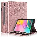 Funda para Samsung Galaxy Tab S7 11'' 2020 Carcasa SM-T870/T875 Prima PU Cuero Estuche Flip Protector de Caso con Función de Soporte y Bolsa de Tarjetas por Galaxy Tab S7 11 Pulgada, Oro Rosa