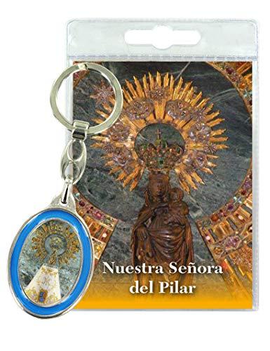Ferrari & Arrighetti Llavero Doble Virgen del Pilar con oración en español (Paquete de 3 Piezas)