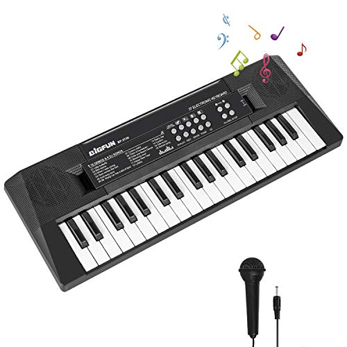 m zimoon Kinder Klavier, 37 Tasten Elektronische Klaviertastatur Musikalische Tastaturen Spielzeug Klavier mit Mikrofon und Stromanschluss, Geschenk für 2 3 4 5 Jahre alte Jungen Mädchen
