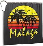 Cortina de ducha de tela de poliéster resistente al agua, con estampado de sol vintage de Malaga con ganchos, 183 x 183 cm