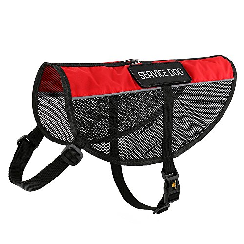PLUTUS PET Service Dog Vest with 2 Removable Patches, Light Weight and Breathable Mesh Service Animal Harness,Perfect for Summer and Hot Days,Red,M,Girth 22.8-27