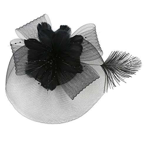 Lurrose Clip de pelo de plumas velo de flores de boda tocado...