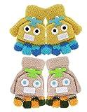 2 Pairs Kids Flip Top Gloves with Mitten Cover Robot Winter Fingerless Convertible Mittens for Boy Girls Toddler