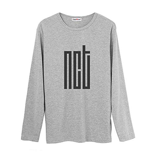 Fanstown Kpop NCT Tshirt NCT U NCT 127 NCT Dream Tshirt Gray Long Sleeves Shirt with pin Button Badge