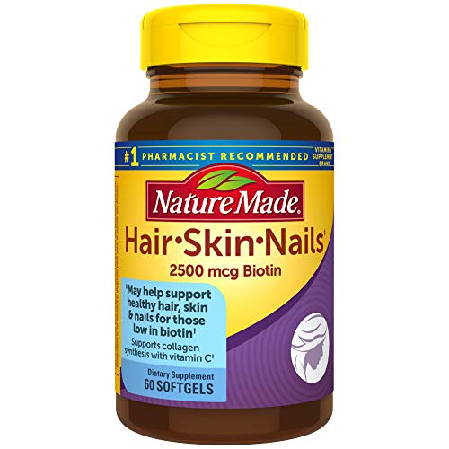 Nature Made Hair Skin amp Nails with 2500 mcg of Biotin Softgels 60 Count for Supporting Healthy Hair Skin and Nails† Packaging May Vary