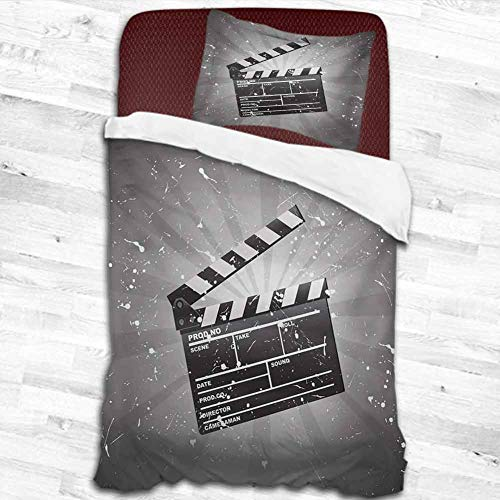 """dsdsgog 100% Brushed Microfiber Movie Theater,Clapper Board on Retro Backdrop with Grunge Effect Director Cut Scene,Grey Black White 55""""x83"""" Two-Piece Bed Sheet Set"""