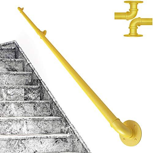 TINS Handlauf für Treppen Innen Aussen Haltegriffe Rohrförmiges Handfußgeländer Sicherheitsgeländer Türgriff Treppengeländer Halter mit Halterungen - Komplettset - Metall Eisen (15ft/450cm, Gelb)