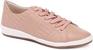 Bellissimo Womens Casual Leather Trainers Lace Up Quilted Effect Low-Cut Shoes
