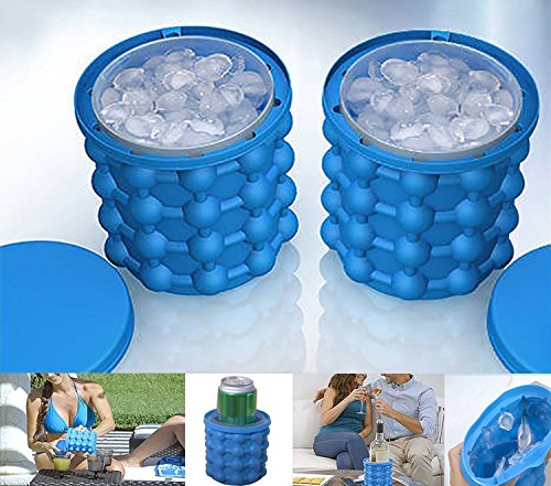 cristoferv Ice Cube Tray Ice Maker Elf silicona cubo de hielo Nevera portátil 2en 1Ice Cube silicona cubitos de hielo Ice Cube cubitos (azul)