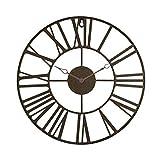 Zenhica Reloj de Pared Vintage de Metal, diseño rústico Elegante. Decoración para el hogar. 36,5 cm de Diámetro, Gancho para Colgar. (Marrón)