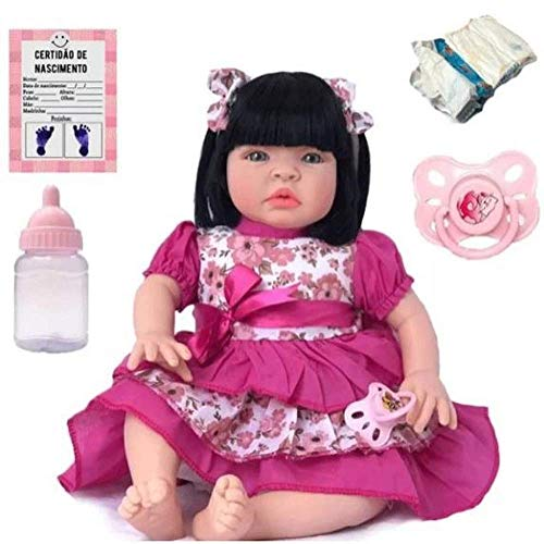 Bebê Reborn Kit Acessórios Boneca Morena