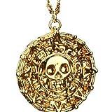 Piratas del Caribe Aztec JXX cráneo del oro antiguo Colgante de moda collar de los hombres de exagerado