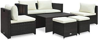 vidaXL Set Muebles de Jardín 6 Piezas y Cojines Conjunto de Salón con Respaldos Sentarse en Exterior Terraza o Balcón Ratán Sintético Marrón