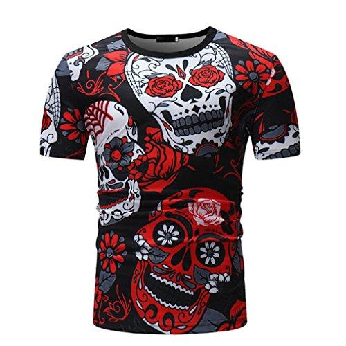Camisetas Calaveras Hombre LHWY, Camisetas De Cuello Redondo con Estampado De 3D Camisetas Slim Casuales Personalidad Verano (M)