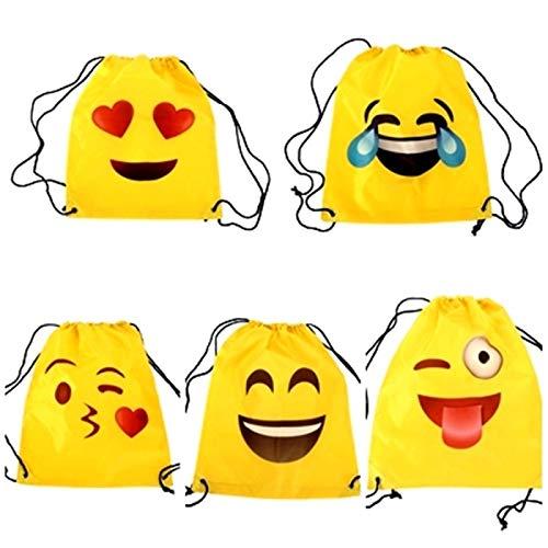 Lote de 20 Mochilas Petate Emoticonos - Mochilas Escolares, Merienda, Infantiles, Infantil para niños y niñas. Regalos, Detalles y Recuerdos Baratas para Invitados de Bodas, Comuniones, Cumpleaños