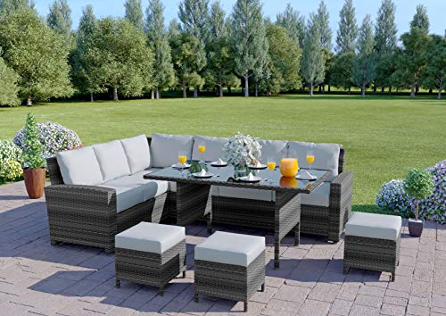 Abreo Rattan Dining Set Furniture Garden Corner 9 Seater Black Brown Dark Mixed Grey INCLUDES OUTDOOR COVER