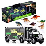 Gifts2U Dinosaur Transport Car Carrier Truck Toy with 6 Dinos 3 Matchbox Cars and 1 Helicopter, Toy Trucks Fits 13 Toy Car Slots Great Dinosaur Toys for Boys and Girls