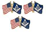 Artisan Owl Masonic Freemason and USA Flags Lapel Hat Pin (3 Pins)