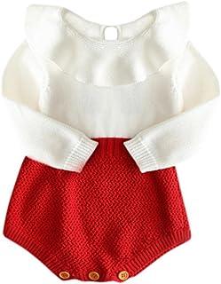 Kobay Kinder Mädchen Baby Gestrickte Pullover Winter Prinzessin Strampler Overall Kleidung