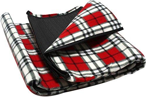 ADVENTURE OUTSIDE Picknickdecke 130 x 150 cm Rot kariert Camping Fleece Decke