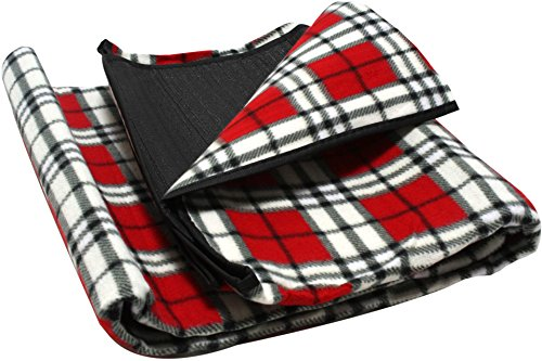 ADVENTURE OUTSIDE Picknickdecke 130 x 150 cm Rot kariert Camping Fleece Decke