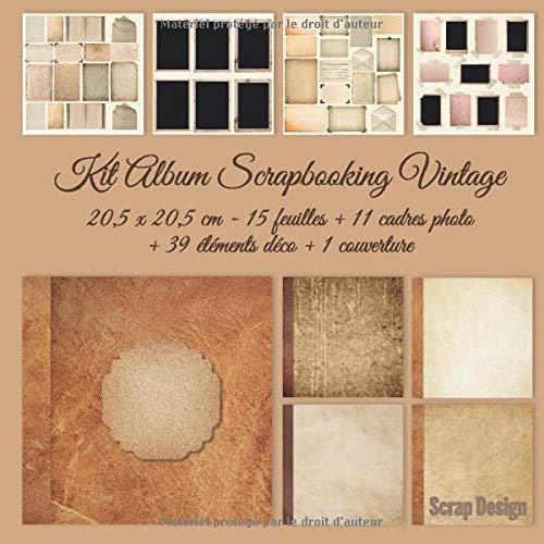 Kit Album Scrapbooking Vintage 20,5 x 20,5 cm, 15 feuilles, 11 cadres photo, 39 éléments déco, 1 couverture