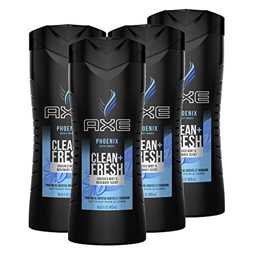 AXE Men's Body Wash For Fresh, Clean Skin Phoenix Shower Gel With Crushed Mint and Rosemary Scent 16 oz (Pack of 4)