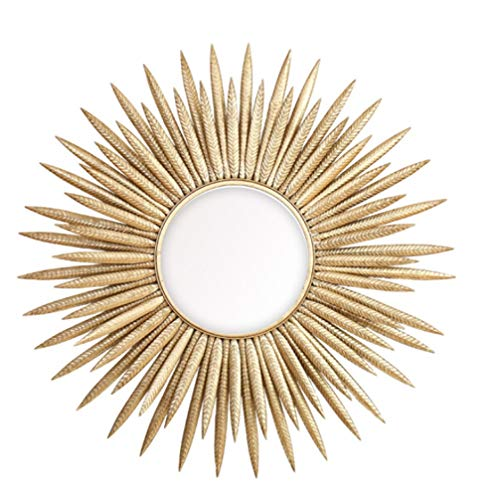 HongTeng Fengmani Spiegel Wanddekoration Kosmetikspiegel Gold Schmiedeeisen Dreidimensionale Veranda Wohnzimmer Wanddekoration 85,7 × 85,7 cm