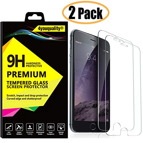 4youquality [2-Pack] iPhone 8 Plus 7 Plus Screen Protector, Premium Tempered Glass Film [LifetimeWarranty][Scratch-Resistant][Anti-Shatter] Screen Protector For Apple iPhone 8 Plus and iPhone 7 Plus