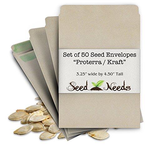 "50 Blank Seed Envelopes 3.25"" x 4.50"" (Self Sealing)""Proterra"""