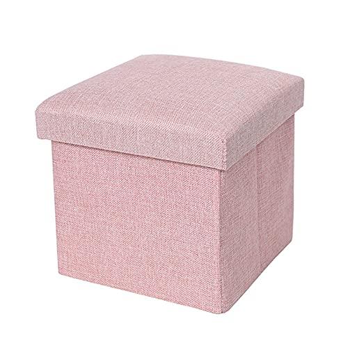 Halllo Taburete multifuncional de algodón y lino que ahorra espacio, plegable, ideal para el salón en casa o la oficina.