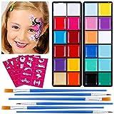 Lictin Truccabimbi Kit,Face Paint,Kit per La Pittura del Viso per Bambini,24 Colori,50 Stencil,6...