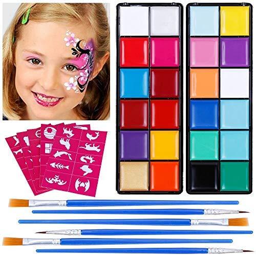 Scopri offerta per Lictin Truccabimbi Kit,Face Paint,Kit per La Pittura del Viso per Bambini,24 Colori,50 Stencil,6 Pennelli Professionali