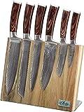 Wakoli Edib 6er Damastmesser-Set mit Klingenlängen von 8,50cm bis 20,50cm extrem scharf aus 67 Lagen I Kochmesserset aus echtem japanischen Damaststahl mit Pakkaholzgriffen & Messerbrett aus Akazie